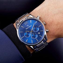 Mats Meier Grand Cornier montre chronographe bleu / acier couleur argent
