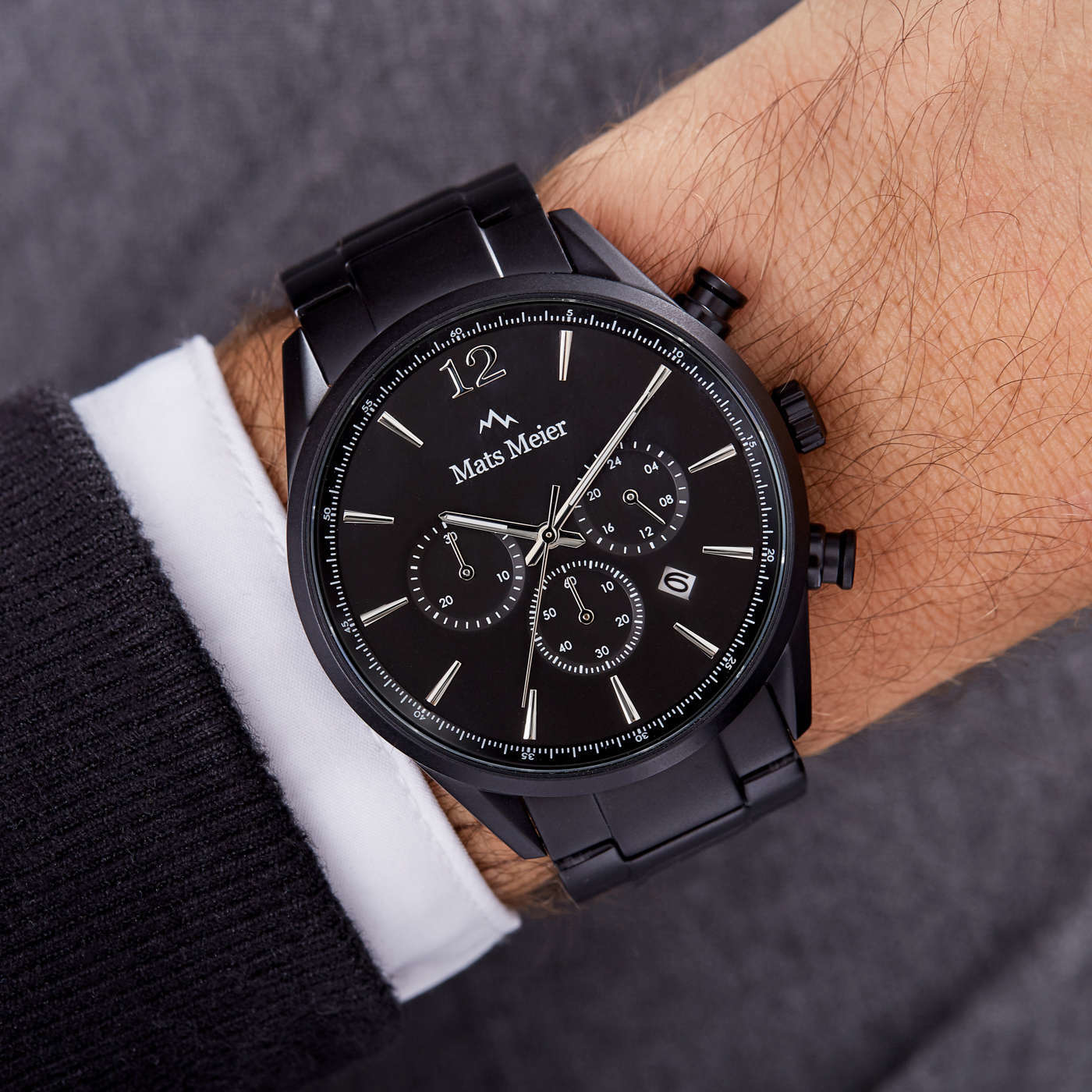 Mats Meier Grand Cornier chronograph watch matte black steel