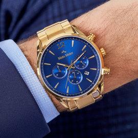 Mats Meier Grand Cornier chronograaf horloge blauw/goudkleurig staal