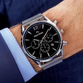 Mats Meier Grand Cornier chronograph mens watch black / silver colored mesh