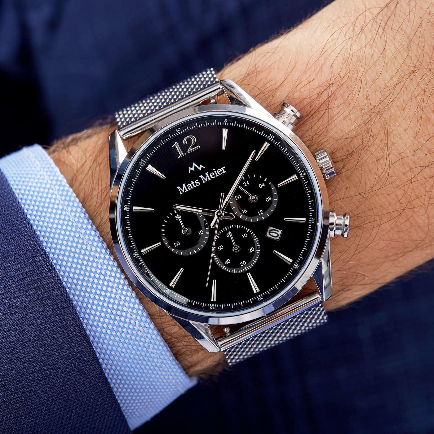 Mats Meier Grand Cornier chronograph watch black/silver mesh