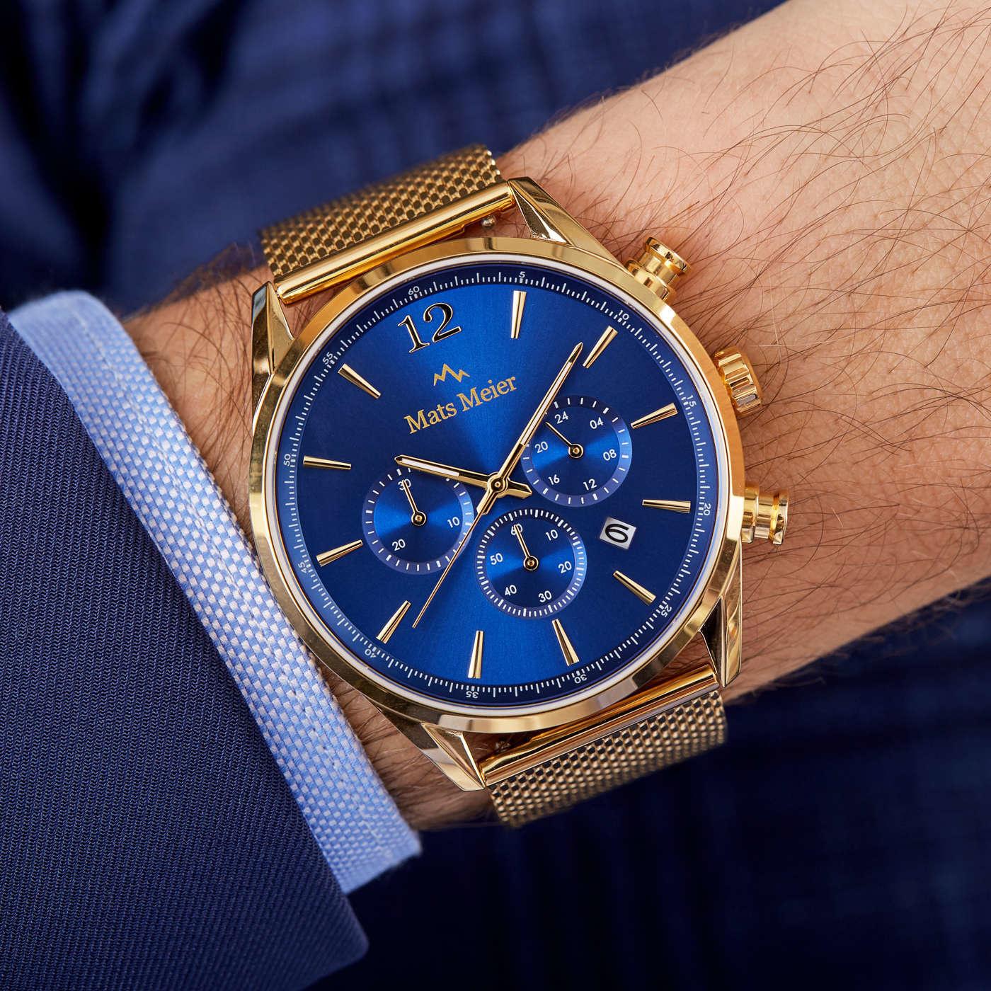 Mats Meier Grand Cornier chronograaf herenhorloge blauw / goudkleurig mesh