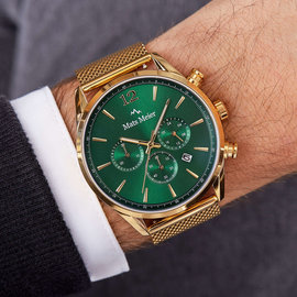 Mats Meier Grand Cornier chronograaf herenhorloge groen / goudkleurig mesh
