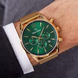 Mats Meier Grand Cornier chronograaf horloge groen/goudkleurig mesh