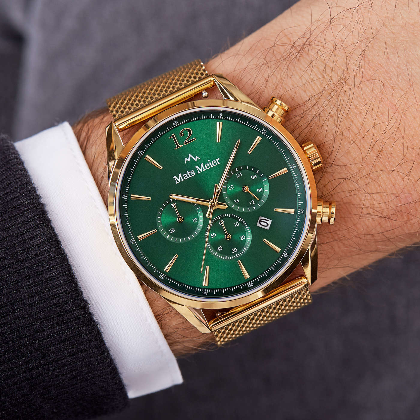 Mats Meier Grand Cornier chronograaf mesh herenhorloge goudkleurig en groen