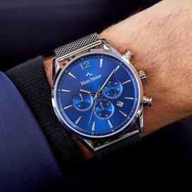 Mats Meier Grand Cornier chronograph watch blue/silver mesh