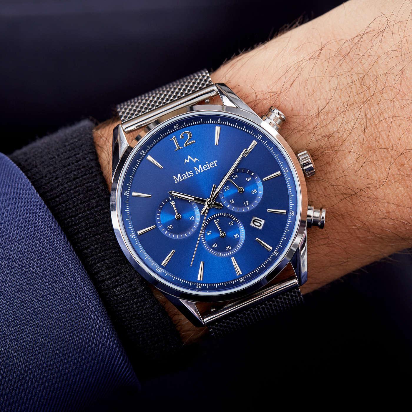 Mats Meier Grand Cornier kronografklocka blå/silvermesh