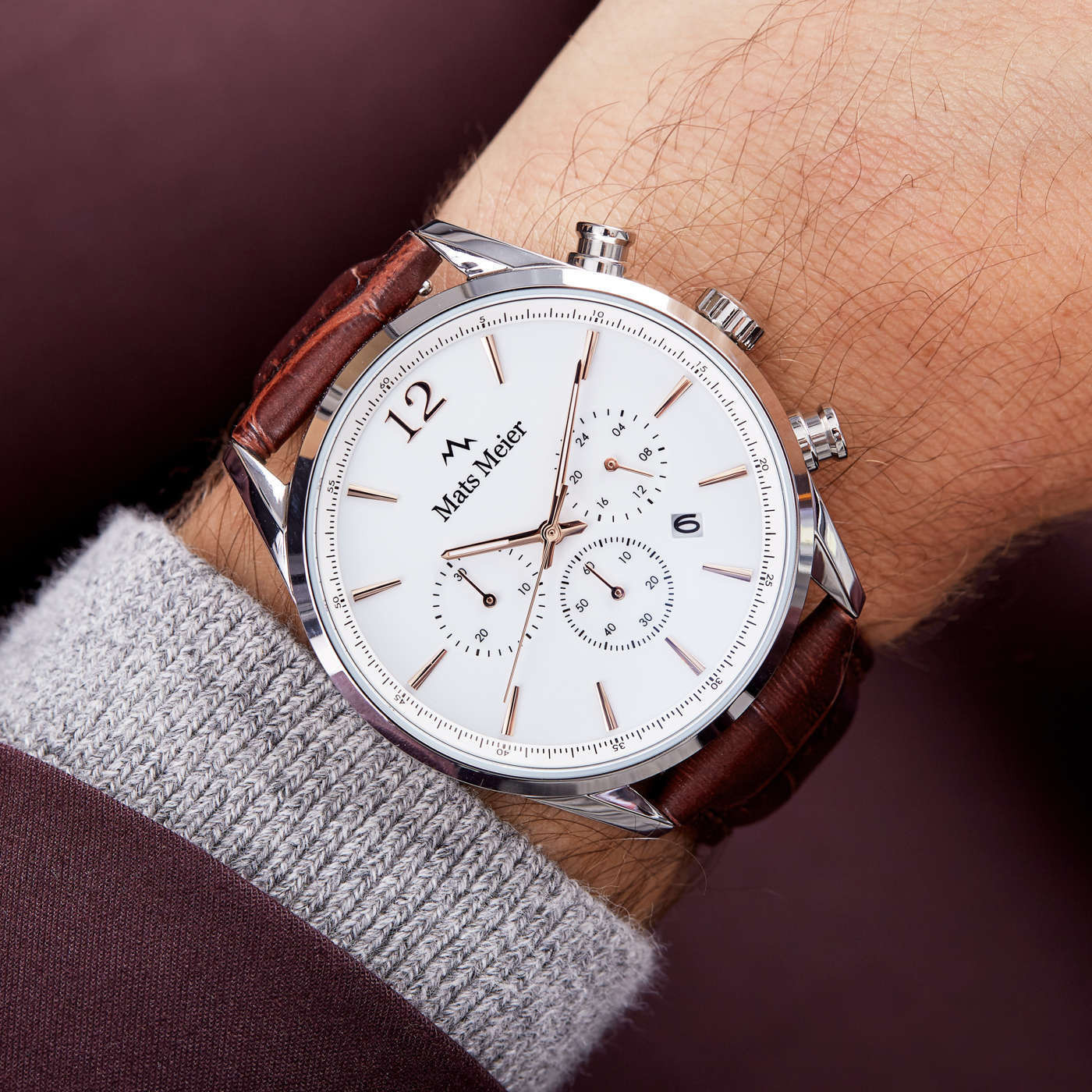 Mats Meier Grand Cornier montre chronographe blanc / marron