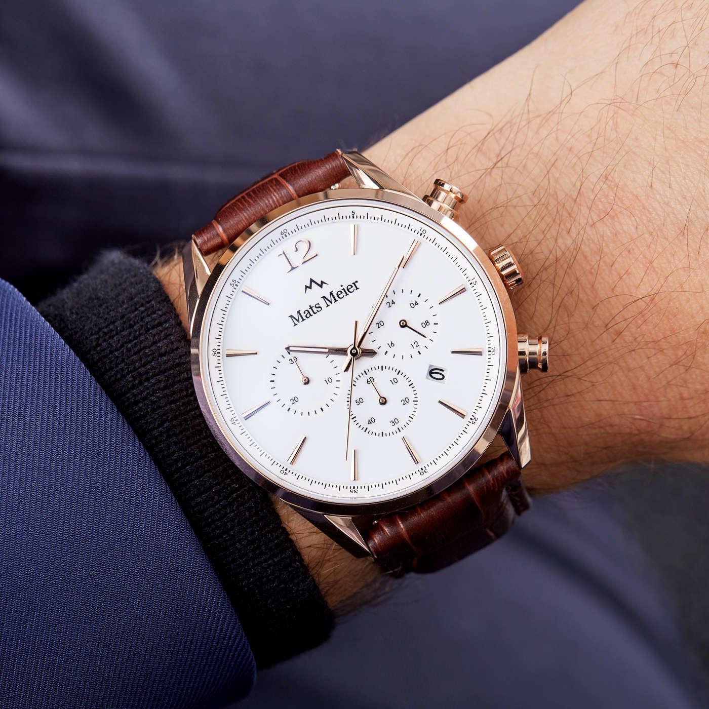 Mats Meier Cronografo Grand Cornier bianco/oro rosa/marrone