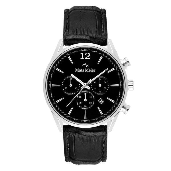 Mats Meier Grand Cornier chronograaf herenhorloge zwart en zilverkleurig