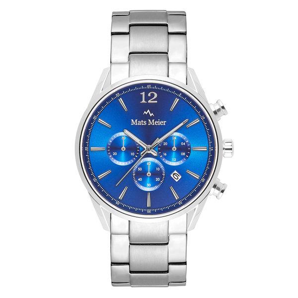 Mats Meier Grand Cornier kronografklocka blå/silvrigt stål