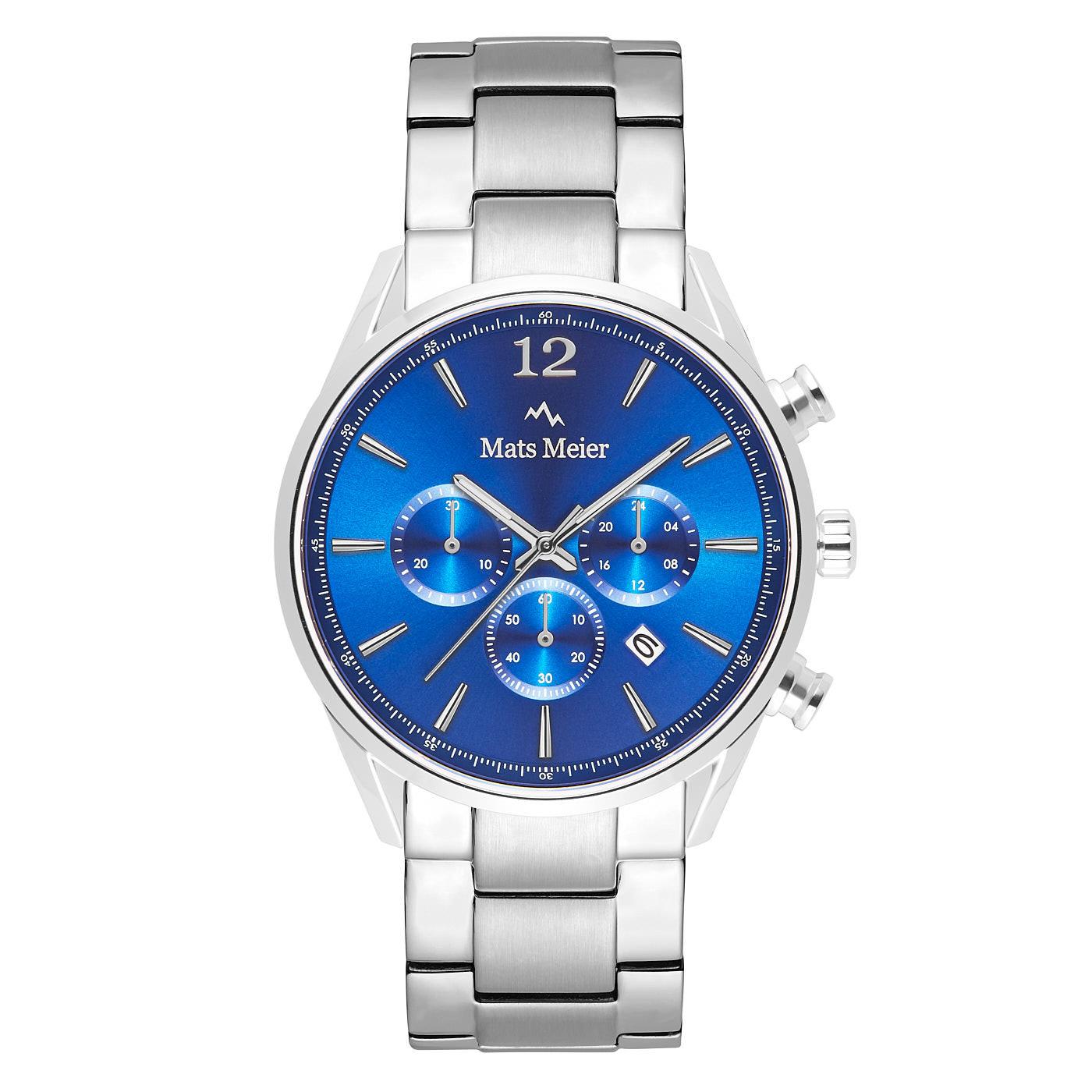 Mats Meier Grand Cornier chronograaf herenhorloge zilverkleurig en blauw