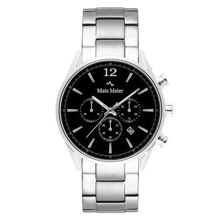 Mats Meier Grand Cornier kronografklocka svart/silvrigt stål