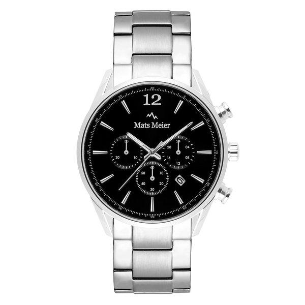 Mats Meier Grand Cornier chronograaf herenhorloge zilverkleurig en zwart