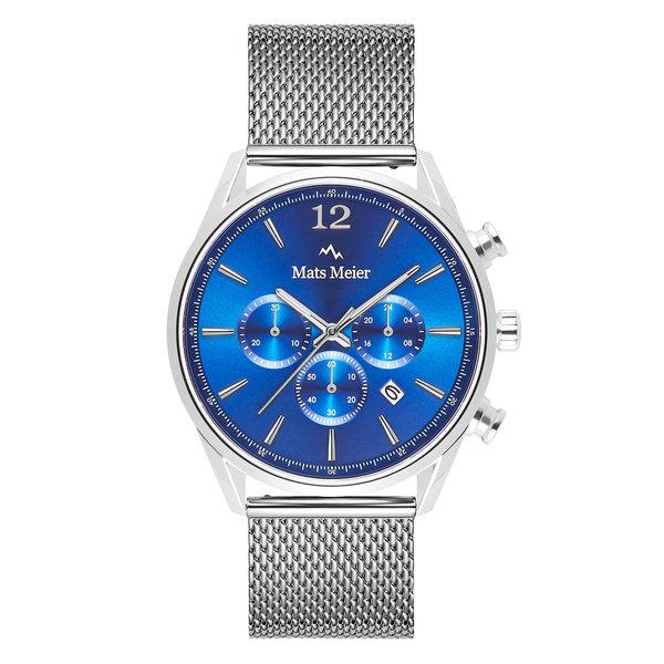 Mats Meier Grand Cornier chronograaf mesh herenhorloge zilverkleurig en blauw