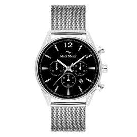 Mats Meier Grand Cornier chronograaf horloge zwart/zilverkleurig mesh