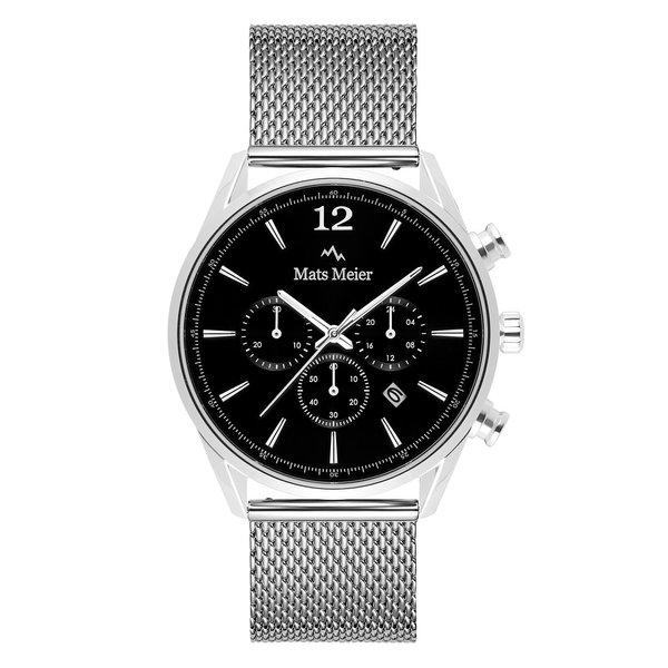 Mats Meier Grand Cornier kronografur sort/sølv mesh