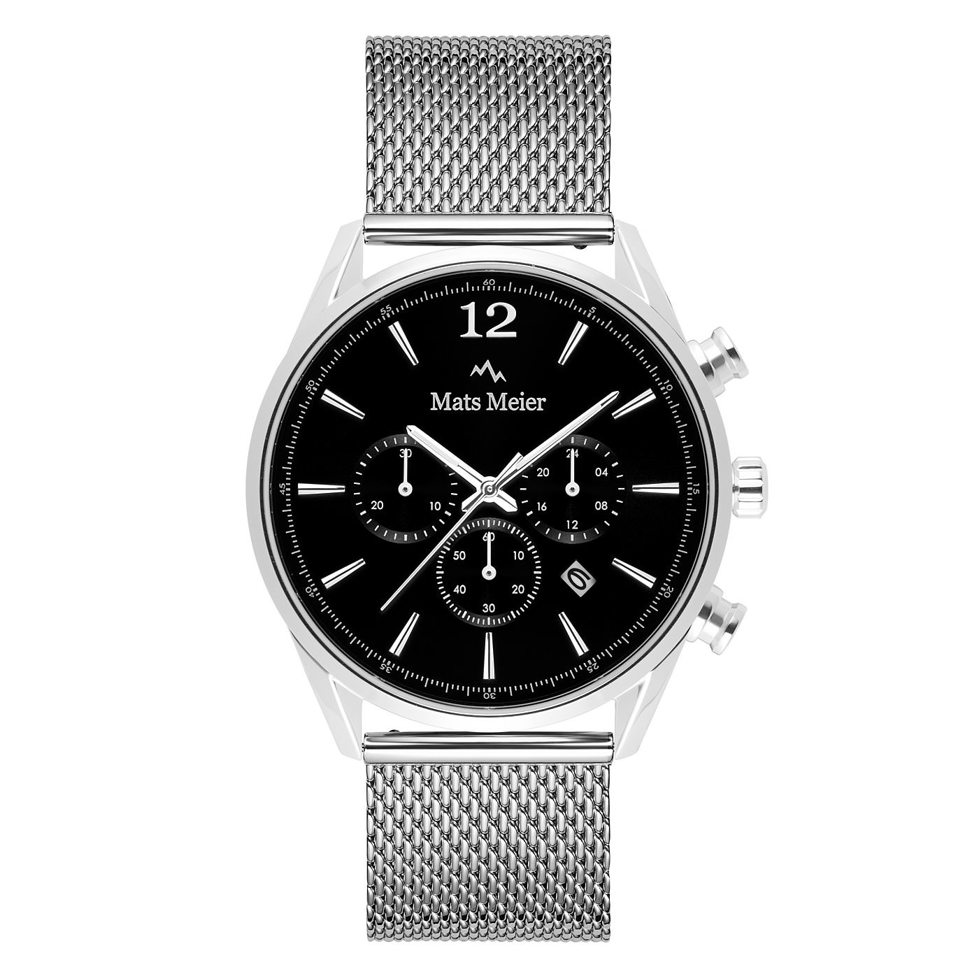 Mats Meier Grand Cornier chronograaf herenhorloge zwart / zilverkleurig mesh