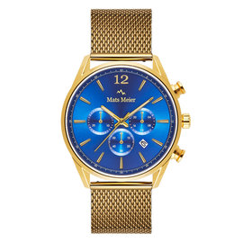 Mats Meier Grand Cornier chronograaf mesh herenhorloge goudkleurig en blauw