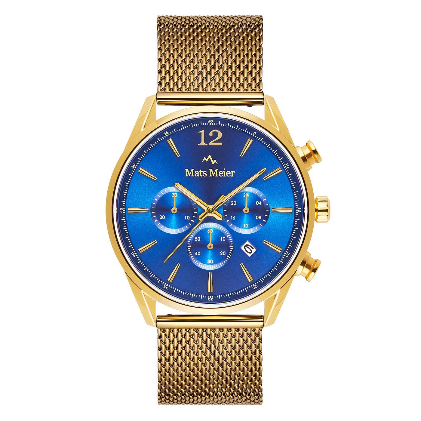 Mats Meier Grand Cornier chronograaf horloge blauw/goudkleurig mesh