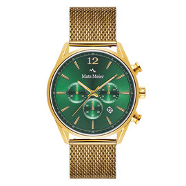 Mats Meier Grand Cornier chronograph watch green/gold mesh