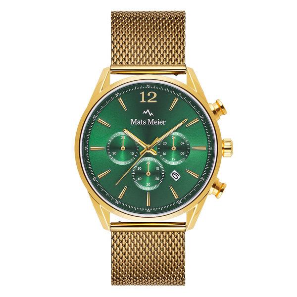 Mats Meier Grand Cornier chronograph watch green/gold mesh