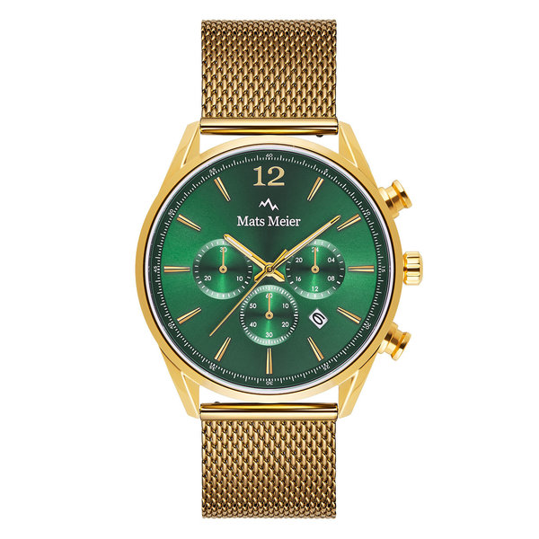 Mats Meier Grand Cornier montre chronographe vert / maille couleur or