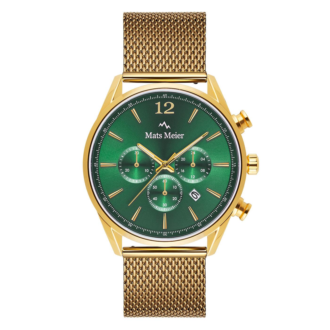 Mats Meier Grand Cornier montre chronographe vert / maille couleur or