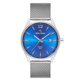 Mats Meier Castor mens watch blue / silver colored mesh