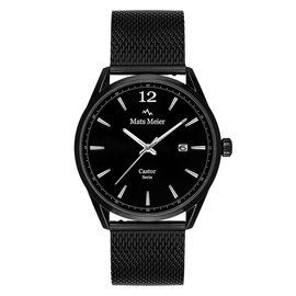 Mats Meier Castor watch matte black mesh