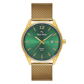Mats Meier Castor mens watch green / gold colored mesh