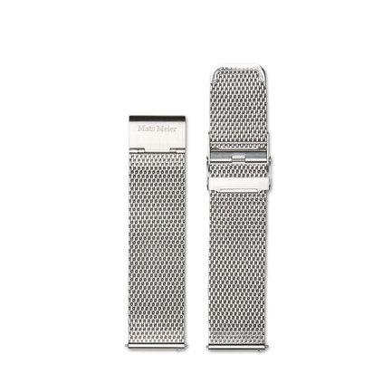 Mats Meier Mesh strap 22mm silver colored