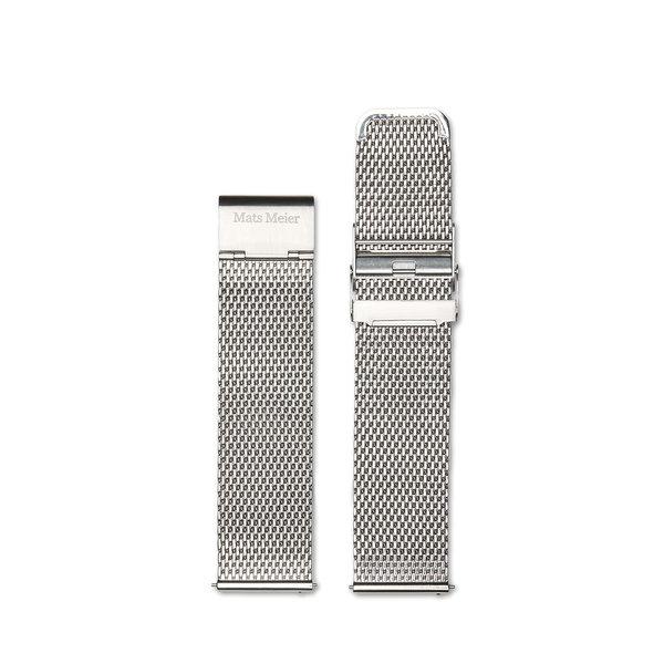 Mats Meier Castor stalen mesh horlogeband 22 mm zilverkleurig