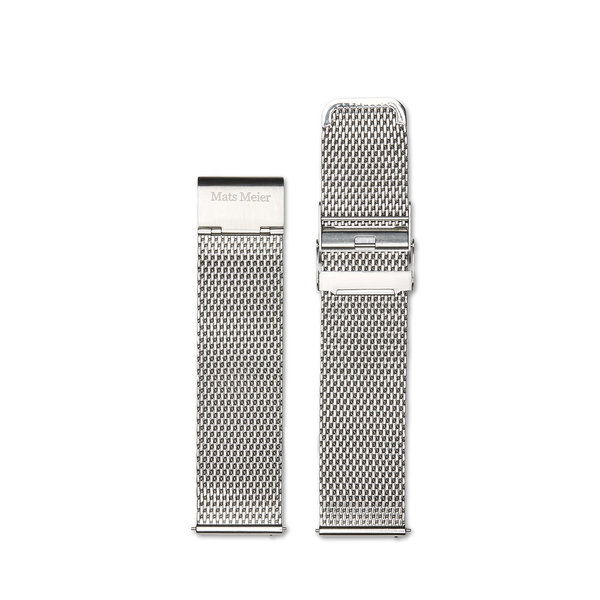 Mats Meier Castor stalen mesh horlogeband 22mm zilverkleurig