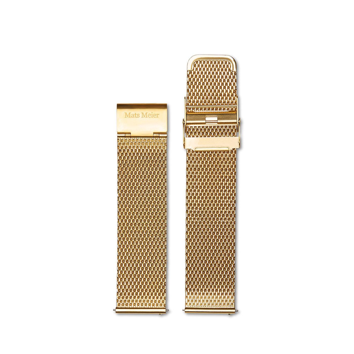 Mats Meier Stalen mesh horlogeband 22mm goudkleurig