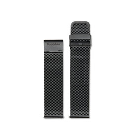 Mats Meier Stalen mesh horlogeband 22mm zwart