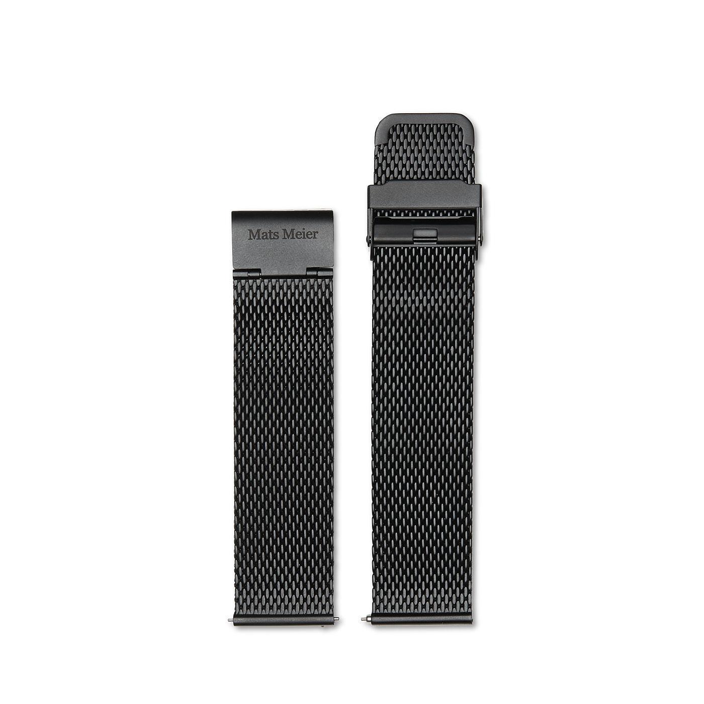 Mats Meier Castor stalen mesh horlogeband 22mm zwart