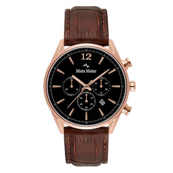 Mats Meier Grand Cornier chronograaf herenhorloge bruin en zwart