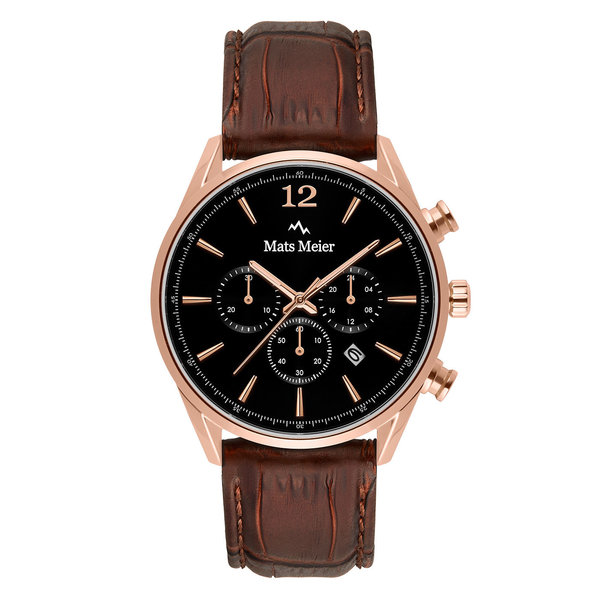 Mats Meier Grand Cornier kronografklocka svart/brun