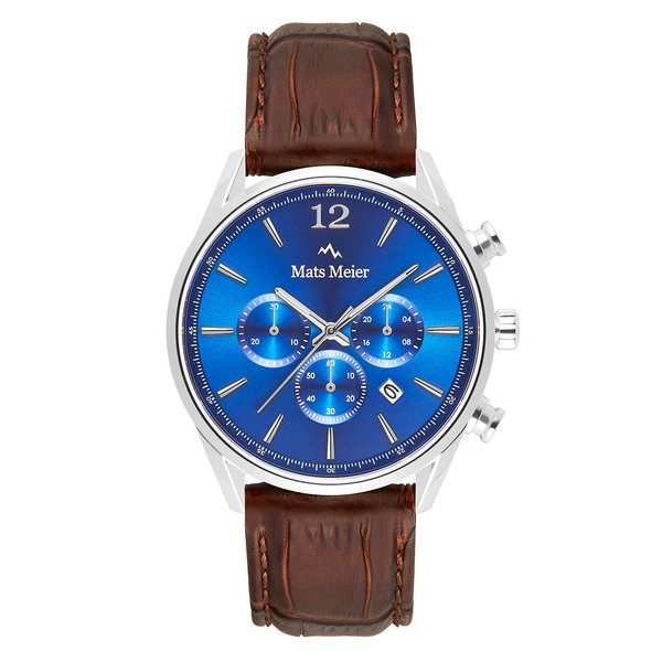 Mats Meier Grand Cornier chronograaf herenhorloge bruin en blauw
