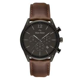 Mats Meier Grand Cornier chronograph mens watch gunmetal / dark brown