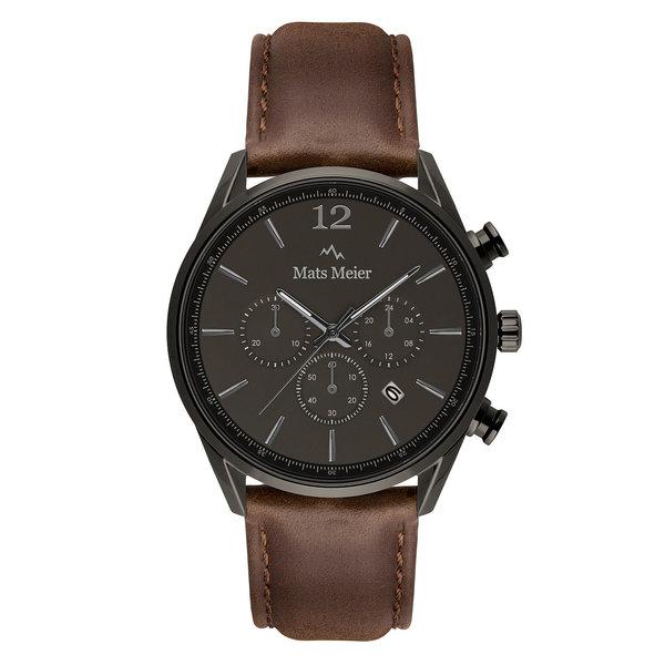 Mats Meier Grand Cornier kronografklocka grå/mörkbrun