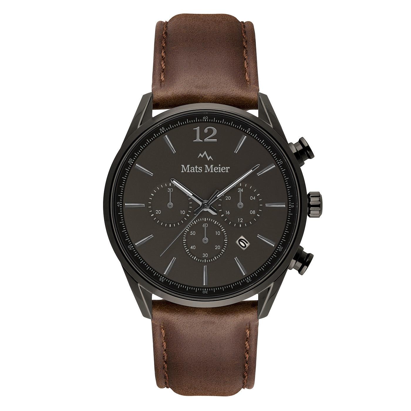 Mats Meier Grand Cornier montre chronographe gunmetal / marron foncé