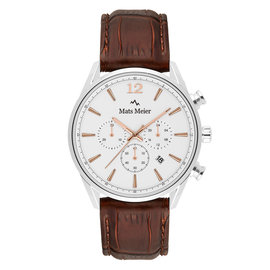 Mats Meier Grand Cornier chronograph mens watch white / brown