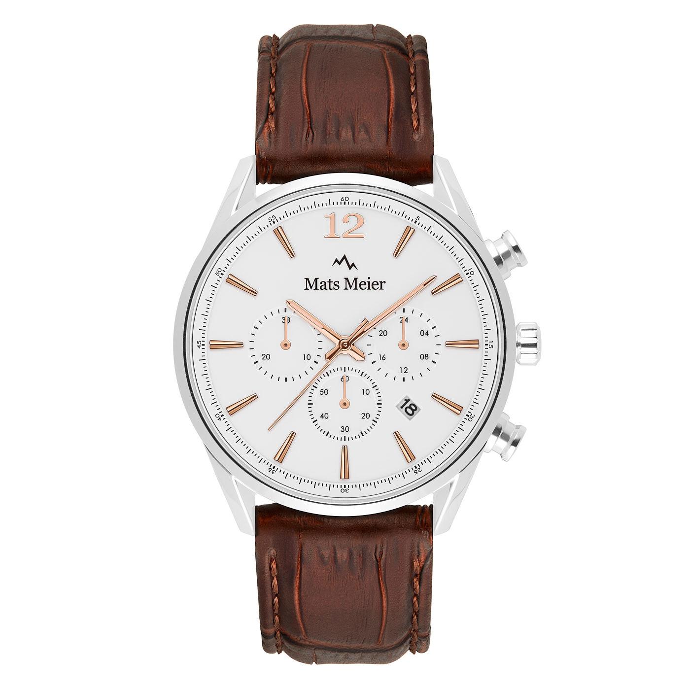 Mats Meier Grand Cornier chronograaf herenhorloge white / bruin