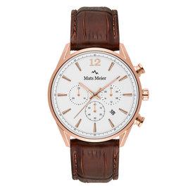 Mats Meier Grand Cornier chronograaf herenhorloge white / rosé goudkleurig / bruin