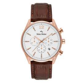 Mats Meier Grand Cornier chronograph mens watch white / rose gold colored / brown