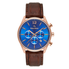 Mats Meier Grand Cornier chronograph mens watch blue / rose gold colored / brown