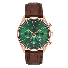 Mats Meier Grand Cornier chronograaf herenhorloge groen / rosé goudkleurig / bruin