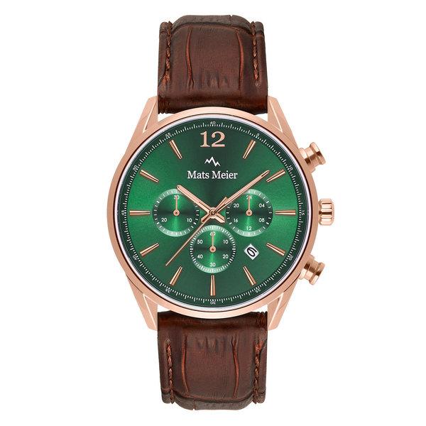 Mats Meier Grand Cornier chronograph mens watch green / rose gold colored / brown